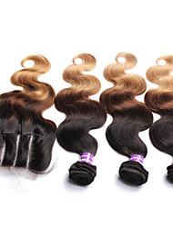 Недорогие -4 Связки Малазийские волосы Естественные кудри Не подвергавшиеся окрашиванию Волосы Уток с закрытием Ткет человеческих волос Расширения человеческих волос