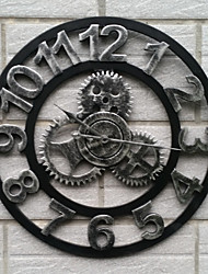 cheap -European Style Vintage Iron Mute Wall Clock Fresh Style(Silvery Color)