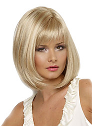 cheap -Synthetic Wig Straight Bob Haircut With Bangs Heat Resistant Side Part Blonde Women's Capless Natural Wigs Short Synthetic Hair