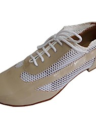 cheap -Women's Ballroom Shoes Patent Leather Heel Indoor Lace-up Low Heel Customizable Dance Shoes Beige