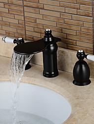 Moderne Udspredt Vandfald Udbredt with  Keramik Ventil Tre Huller To Håndtag tre huller for  Olie-gnedet Bronze , Håndvasken vandhane