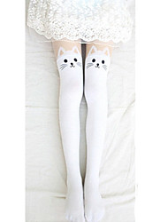 cheap -Socks / Long Stockings Thigh High Socks Sweet Lolita Dress Lolita Lolita Women's Black White Lolita Accessories Print Cat Stockings Velvet