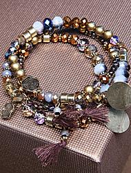 set of 3 Brown/Black Beads Strand Elastic Stacked Bracelet