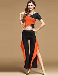 economico -Danza del ventre Completi Per donna Da esibizione Tulle Drappeggi 2 pezzi Top Pantaloni