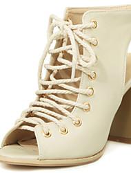 cheap -Women's Shoes Chunky Heels/Sling back/Open Toe Sandals Dress Black/Beige