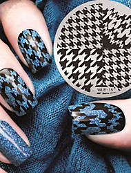 cheap -2016 Latest Version Fashion Pattern  Houndstooth Nail Art Stamping Image Template Plates