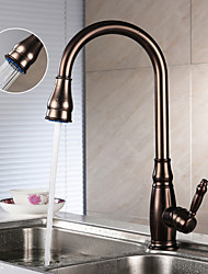 Antigo Pull-out / Pull-down Conjunto Central Torneira Destacável / Rotativo with  Válvula Cerâmica Single Handle Uma Abertura for  Bronze
