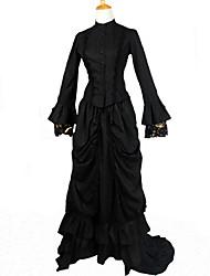 baratos -Lolita Clássica e Tradicional Vitoriano Feminino Uma Peça Vestidos Ternos de Empregadas Cosplay Preto Manga Longa