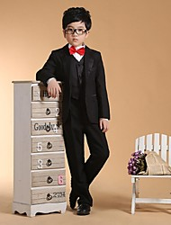 cheap -Black Cotton Ring Bearer Suit - Six-piece Suit Includes  Jacket Waist cummerbund Vest Shirt Pants Bow Tie