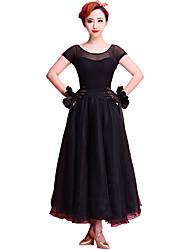 cheap -Ballroom Dance Dresses Women's Performance Chinlon / Organza / Milk Fiber Lace Short sleeves Dress