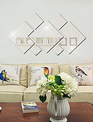 cheap -Living Room Bedroom Sofa Background Wall Decoration Bathroom Mirror Acrylic Diamond Mirror Wall Stickers 7PCS