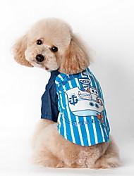 Cane T-shirt Abbigliamento per cani Rigato Blu Rosa Costume Per animali domestici