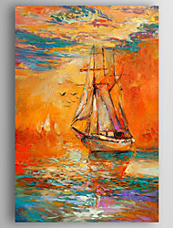 Oil Painting Impression Landscape Boats Hand Painted Canvas with Stretched Framed Ready to Hang
