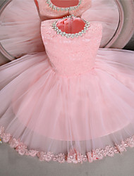 Ball Gown Knee Length Flower Girl Dress - Lace Tulle Sleeveless Jewel Neck with Bow(s)