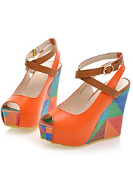 cheap -Women's Shoes Leatherette Spring Summer Fall Wedge Heel Buckle for Dress White Brown Blue Beige Orange