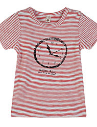 billige -Drenge T-shirt Daglig Stribet, Bomuld Sommer Kortærmet Lyseblå