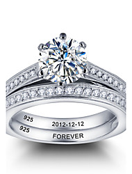 Personalized Noble Promise 925 Sterling Silver Couples CZ Stone Wedding Ring