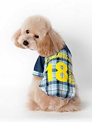 preiswerte -Katze Hund T-shirt Hundekleidung Lässig/Alltäglich Plaid/Karomuster Blau Rosa Kostüm Für Haustiere