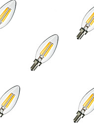cheap -5pcs 2W 220 lm E14 LED Filament Bulbs C35 4 leds High Power LED Decorative Warm White Cold White AC 220-240 V