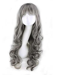 Недорогие -Парики из искусственных волос Кудрявый / Крупные кудри Ассиметричная стрижка / С чёлкой Искусственные волосы Природные волосы Серый Парик