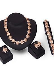 Set di gioielli Gioielli Di tendenza Personalizzato Euramerican Placcato in oro Lega Gioielli Oro1 collana 1 paio di orecchini 1