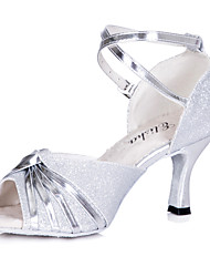cheap -Women's Latin Shoes / Ballroom Shoes Sparkling Glitter Sandal Customized Heel Customizable Dance Shoes / Indoor / Professional