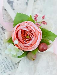 economico -Bouquet sposa Legato Braccialetto floreale Matrimonio Partito / sera Raso