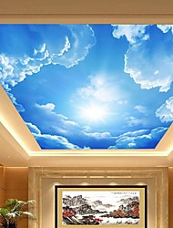 cheap -3D Shinny Leather Effect Large Lobby Ceiling Mural Wallpaper Blue Sky And Clouds Ceiling Painting Art Decor