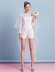 abordables -Fourreau / Colonne Bijoux Courte / Mini Dentelle Robes de mariée personnalisées avec Noeud Ceinture / Ruban Poche par LAN TING BRIDE®