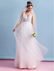 cheap -A-Line Spaghetti Straps Floor Length Lace Tulle Wedding Dress with Lace by LAN TING BRIDE®