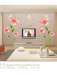 cheap -Romance Pink Lilies  Wall Stickers  Fashion / Florals Wall Stickers Plane Wall Stickers,pvc 60*90cm