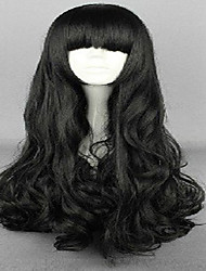 cheap -Classical Cosplay Wig Bangs& Oblique Bangs 2 Styles Black Long Synthetic Animated Wigs Woman's Cartoon Wigs Party Wigs