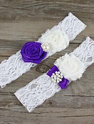 Strumpfband Spitze Chiffon Blume Künstliche Perle Weiß
