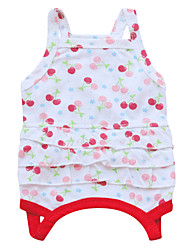 abordables -Chat Chien Robe Vêtements pour Chien Floral / Botanique Blanc Rouge Vert Coton Costume Pour les animaux domestiques Homme Femme Mode