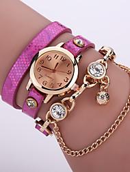 cheap -Women's Quartz Bracelet Watch Hot Sale Leather Band Flower Fashion Black White Blue Orange Brown Pink