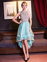 A-Line Fit & Flare Jewel Neck Asymmetrical Tulle Cocktail Party Prom Dress with Beading Bow(s) Crystal Detailing Pearl Detailing Sequins