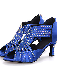 cheap -Women's Latin Shoes Elastic Fabric Sandal / Heel Rhinestone / Sparkling Glitter / Zipper Flared Heel Customizable Dance Shoes Black / Red / Blue / Performance / Leather / Professional
