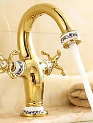 abordables -Traditionnel Set de centre Jet pluie Soupape céramique 1 trou Deux poignées un trou Laiton Antique, Robinet lavabo