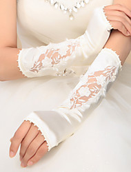 cheap -Satin Elbow Length Glove Bridal Gloves Party/ Evening Gloves With Appliques