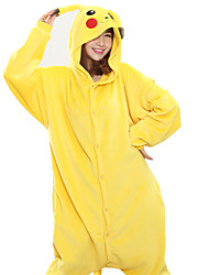 cheap -Kigurumi Pajamas Pika Pika Onesie Pajamas Costume Coral fleece Yellow Cosplay For Adults' Animal Sleepwear Cartoon Halloween Festival /