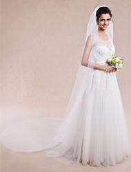 economico -Veli da sposa 1 strato Velo lungo (a terra) Bordo tagliato 114,17 in (290 centimetri) Tulle Bianco Avorio