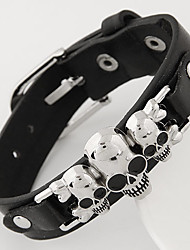 cheap -leather Charm BraceletsUnisex European Style Concise Fashion Metal Skull Leather Bracelet Christmas Gifts