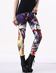 cheap -Women's Daily Plus Size Basic Legging - Geometric, Print Mid Rise