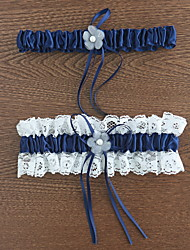 Garter Polyester Flower Lace Blue