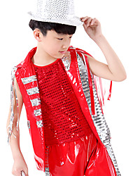 cheap -Jazz Outfits Performance Polyester / Sequined Sequin Sleeveless Natural Vest / Top / Pants