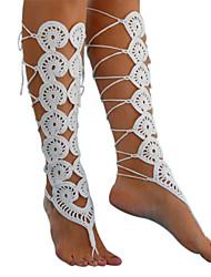 Недорогие -женская мода вязание крючком босиком сандалии выдолбить лодыжки браслет лодыжки цепь