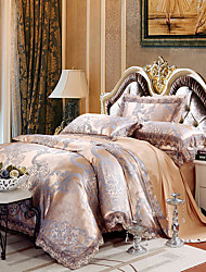 cheap -Hot Sale Queen King Size Bedding Set Luxury Silk Cotton Blend Lace Duvet Cover Sets Jacquard Pattern