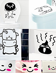7pcs DIY Smile Cartoon Toilet/Cup/Notebook PVC Wall Decals Wall Sticker PVC