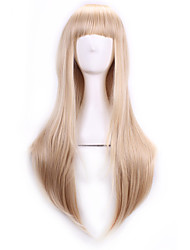 cheap -70 Cm Harajuku Anime Cosplay Wigs With Bangs Sexy Long Straight Synthetic Hair European American Style Blonde Wig