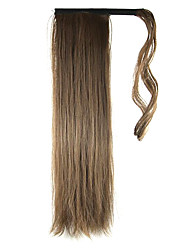 cheap -24 inch Medium brown lace Clip In Straight Ponytails Wrap Around Synthetic Hair Piece Hair Extension